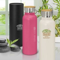 Nomad Eco Vacuum Bottle - Stainless Steel with a Bamboo Veneer Gift Tube