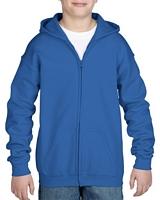 Gildan Heavy Blend Youth Full Zip Hooded Sweatshirt Royal M