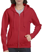 Gildan Heavy Blend Ladies' Full Zip Hooded Sweatshirt Red M
