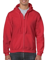 Gildan Heavy Blend Adult  Full Zip Hooded Sweatshirt Red M