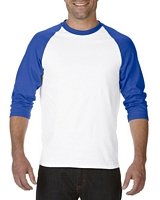 Gildan Heavy Cotton Adult 3/4 Raglan T-Shirt White / Royal M
