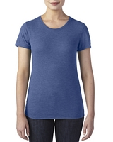 Anvil Women's Tri-Blend T-Shirt Heather Blue XS