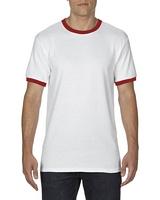 Gildan Adult Ringer T-Shirt White/Red M