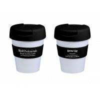 Reusable Eco Cup Karma Kup White Black with Flip Closure (G1960) 320ml/11oz