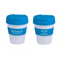 Reusable Eco Cup Karma Kup White Blue with Flip Closure (G1960) 320ml/11oz