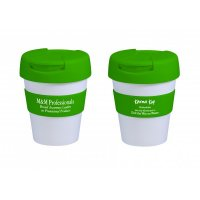 Reusable Eco Cup Karma Kup White Green with Flip Closure (G1960) 320ml/11oz