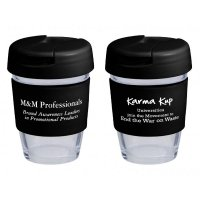 Reusable Eco Cup Glass Karma Kup Black with Flip Closure (G1800) 8oz/235ml