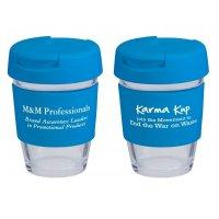 Reusable Eco Cup Glass Karma Kup Blue with Flip Closure (G1800) 8oz/235ml