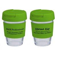 Reusable Eco Cup Glass Karma Kup Green with Flip Closure (G1800) 8oz/235ml