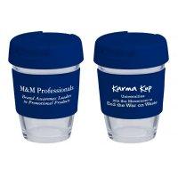Reusable Eco Cup Glass Karma Kup Navy with Flip Closure (G1800) 8oz/235ml