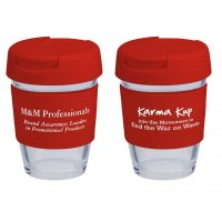 Reusable Eco Cup Glass Karma Kup Red with Flip Closure (G1800) 8oz/235ml
