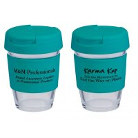 Reusable Eco Cup Glass Karma Kup Turquoise with Flip Closure (G1800) 8oz/235ml