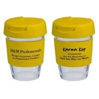 Reusable Eco Cup Glass Karma Kup Yellow with Flip Closure (G1800) 8oz/235ml