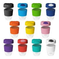 Reusable Acrylic Karma Kup Black with Silicon Band, Flip Closure (G1957) 16oz
