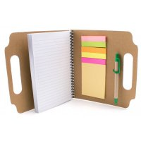 Recycled Die Cut Sticky Notepads with Recycled Pens