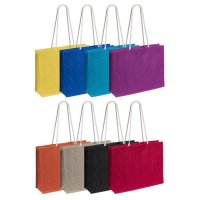 Custom Printed and Logo Branded Jute Cotton Bags Long Handles