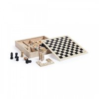 M6113 4 Sets of Game in Wooden Pieces- Chess, Domino, Draught, Mikado