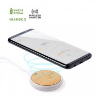 Round Wireless Charger (Bamboo Surface & Wheat Straw Shell)