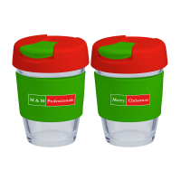 Reusable Eco Cup Glass Karma Kup Christmas with Flip Closure (G1800) 8oz/235ml
