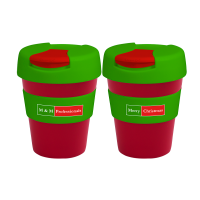 Reusable Eco Cup Karma Kup Red & Colour Lids with Flip Closure (G1960) 320ml