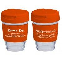Reusable Eco Cup Glass Karma Kup Orange with Flip Closure (G1800) 8oz/235ml