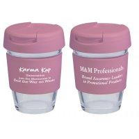 Reusable Eco Cup Glass Karma Kup Pink with Flip Closure (G1800) 8oz/235ml