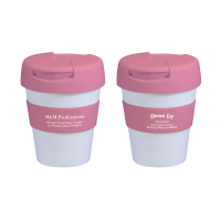 Reusable Eco Cup Karma Kup White Pink with Flip Closure (G1199) 320ml/11oz