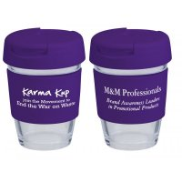 Reusable Eco Cup Glass Karma Kup Purple with Flip Closure (G1800) 8oz/235ml