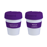 Reusable Eco Cup Karma Kup White Purple with Flip Closure (G1199) 320ml/11oz