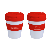 Reusable Eco Cup Karma Kup White Red with Flip Closure (G1960) 320ml/11oz