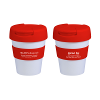 Reusable Eco Cup Karma Kup Colour Band, Lid, Flip Closure (G1199) 11oz/320ml