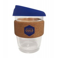 Reusable Acrylic Karma Kup Navy with Cork Band, Silicon Lid (G1969) 12oz/340ml