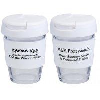Reusable Eco Cup Glass Karma Kup White with Flip Closure (G1800) 8oz/235ml