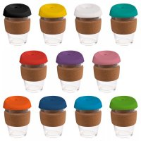 Reusable Eco Cup Glass Karma Kup Cork Band Silicon Lid (G1945) 12oz/340ml