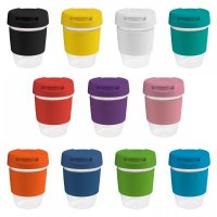 Reusable Acrylic Karma Kup with Silicon Band, Flip Closure (G1956) 12oz/340ml
