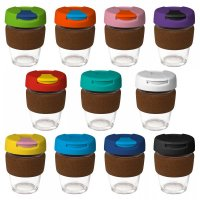 Reusable Eco Cup Glass Karma Kup Cork Band Flip Lid (G1963) 12oz/340ml
