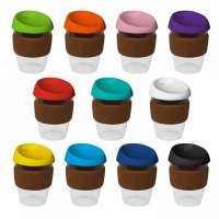 Reusable Acrylic Karma Kup Black with Cork Band, Silicon Lid (G1969) 12oz/340ml