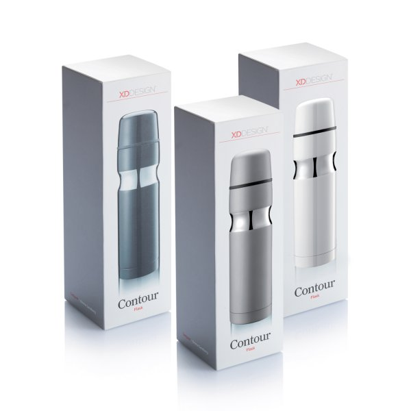 Contour Stainless Steel Vacuum Flask Retail Packaging