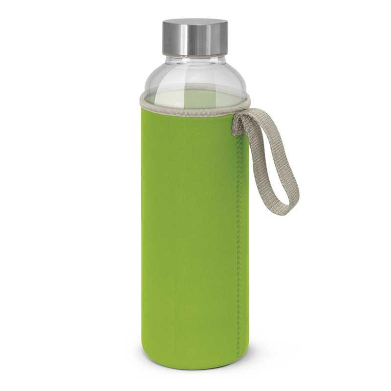 Borosilicate Glass Bottle with Neoprene Sleeve Bright Green