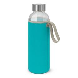 Borosilicate Glass Bottle with Neoprene Sleeve Light Blue